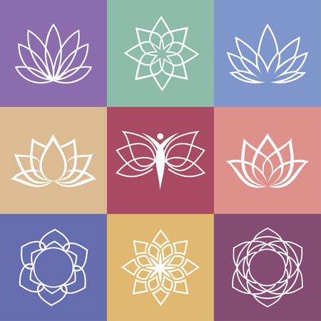 Lotus vector yoga icons and round line badges  graphic design elements in outline style or logo templates for spa center or yoga studio.