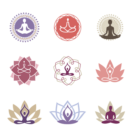 Vector yoga icons and line badges, graphic design elements or logo templates for spa center or yoga studio.