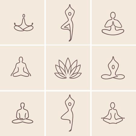 Set of outline icons and symbols for spa center or yoga studio. Vettoriali