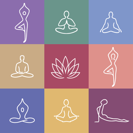 Vector yoga icons and round line badges - graphic design elements in outline style or logo templates for spa center or yoga studio.