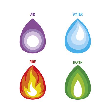 4 elements set. vector four natural elements symbols