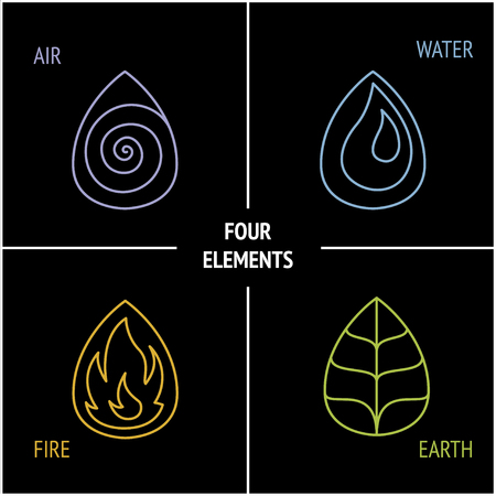 Nature 4 elements logo sign. Water, Fire, Earth, Air. on dark background. Vettoriali