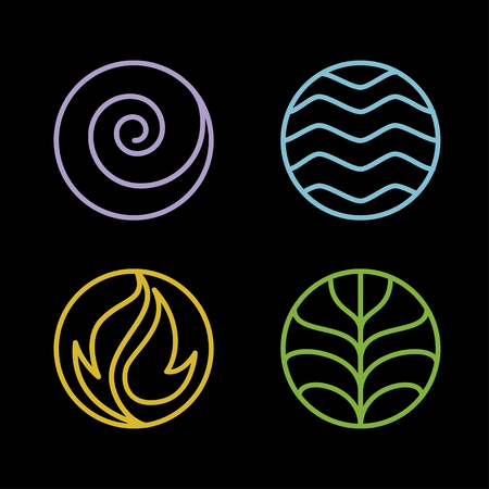 Nature 4 elements circle line logo sign. Water, Fire, Earth, Air. on dark background.