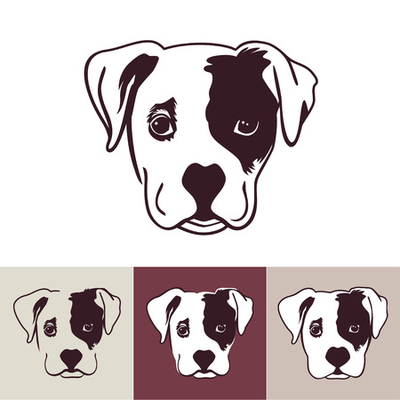 Pet dog. Head puppy isolated on white background. Concept of man's best friend. Cute little cartoon dog. vector illustration. Vet or pet shop logo. Vettoriali