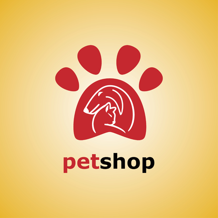 Dog and cat symbol. Vector. Paw logo template, animal day care and pet shop Vettoriali