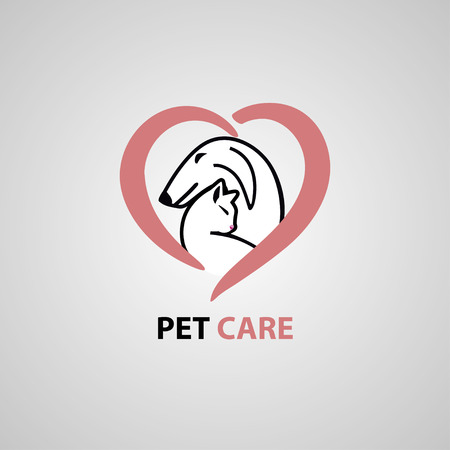 Abstract design concept for pet shops, food, veterinary clinics and animal shelters homeless. Dog and cat symbol. Vector logo template.