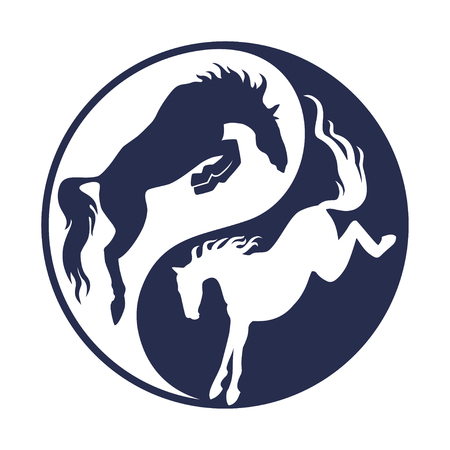 Rearing up horse monochrome silhouette. Can be used for logo, emblem or heraldry design concept. Horse racing. Champion. Hippodrome. Jump racetrack. Equestrian sport.