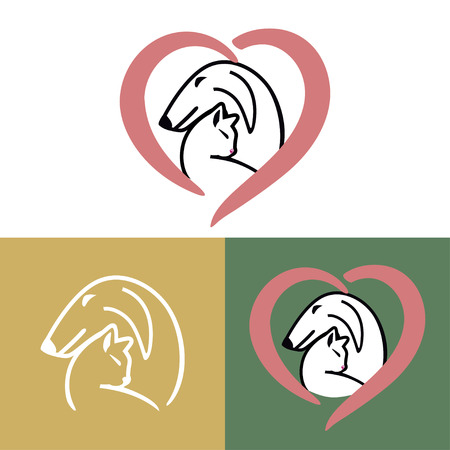 A Vector logo design template for pet shops, veterinary clinics and animal shelters homeless. Vector logo template with cat and dog.