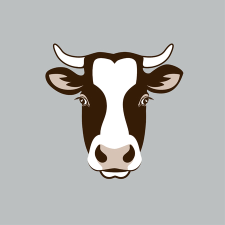 Image of a cow head design on grey background, Vector cow logo. Farm Animals.
