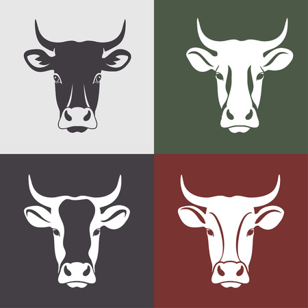 Cow head labels set. cow head portrait, set of stylized vector symbols. Vettoriali