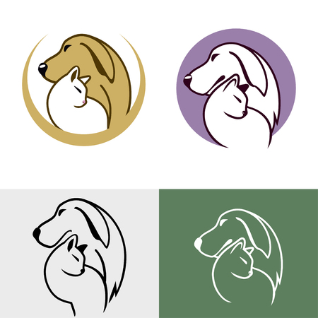 pet cat: Abstract design concept for pet shops, food, veterinary clinics and animal shelters homeless. Dog and cat symbol. Vector logo template.