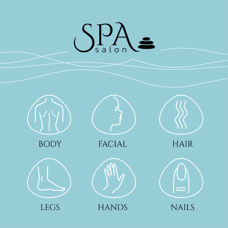 Spa and massage, Bodycare, Beauty Salon, Wellness conceptual banners set with flat style design icons. Healthcare salon, haircut, skin care, herbal therapy, cosmetics vector items