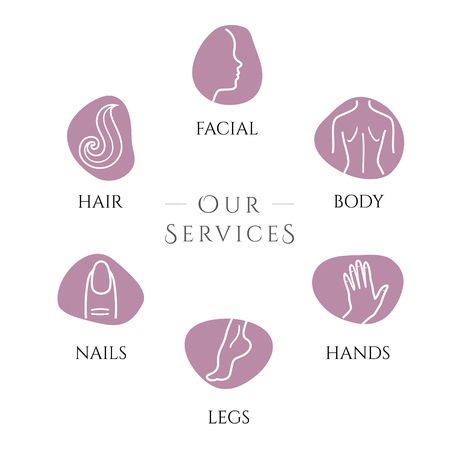 Set of flat design colorful vector illustration icons for beauty procedures, wellness, spa, waxing, haircut, makeup, cosmetology isolated on bright background