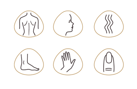 Spa Massage Therapy Skin Care Cosmetics Services Icons. Vector Illustration. beauty salon