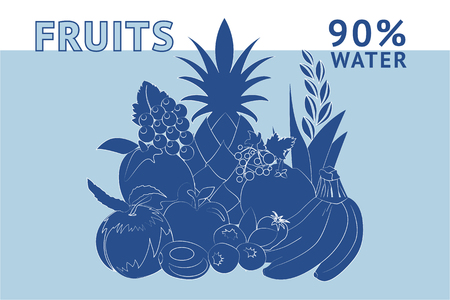 ninety percent of a fruit is water. Usefulness of fruit. Basics of healthy nutrition, dieting, lifestyle. Illustration