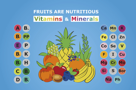 Usefulness of fruit. The content of vitamins and trace elements minerals in the most common fruit. Basics of healthy nutrition,dieting, lifestyle.