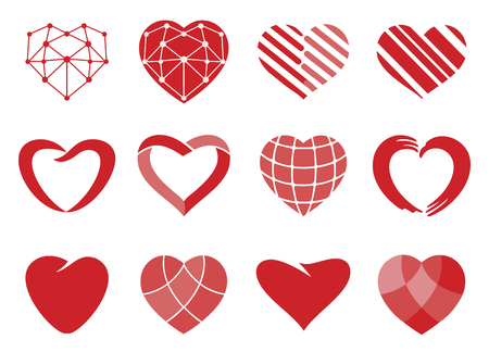 Set of red vector hearts icons. Love symbol. Valentines Day sign, wedding emblem isolated on white background. Flat style for graphic and web design, logo.