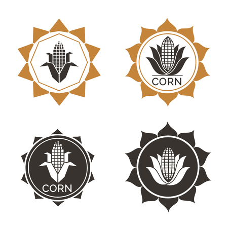 Corn vegetable icon. Vector emblem of farm corncob or corn ear with leaves. Vegetarian cuisine vegetable and agriculture ripe harvest. Sweet corn cob maize for grocery store, farmer market design Vettoriali
