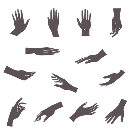 Open empty hands holding protect giving gestures icons set isolated vector illustration Vettoriali