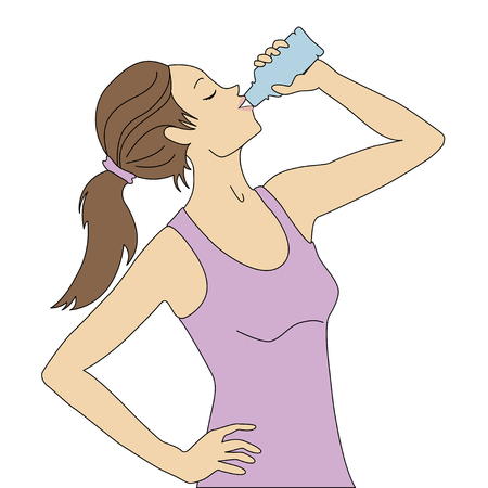 Attractive young woman is drinking water from a plastic bottle. Fitness and health.
