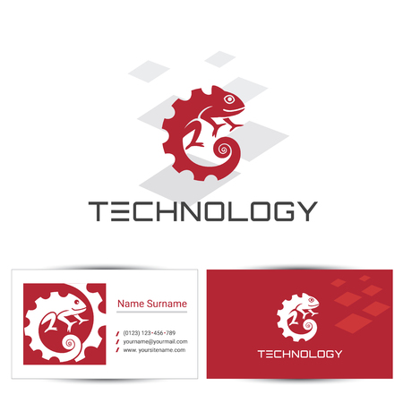 Abstract chameleon icon with business card design template. Can be used for the concept of technology logo or digital company, industrial engineering. 일러스트
