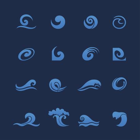 Onde icone vettoriali isolati. oceano di acqua spruzzata dell'onda, rulli dell'acqua marea, curling in tempesta, bollente e ribollente onde del mare blu Archivio Fotografico - 81388143