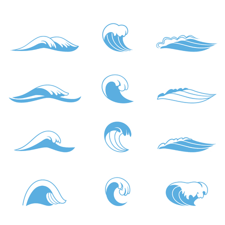 Ocean or sea waves, surf and splashes set curling and breaking in a pretty turquoise blue for marine and nautical themed concepts, vector illustration on white Vettoriali