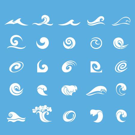 水のデザイン要素です。アイコン、シンボルやロゴのデザインとして使用することができます。青の背景に分離された白い海波のセット。