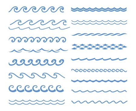 白い背景の青いベクトル波アイコンを設定します。水の波