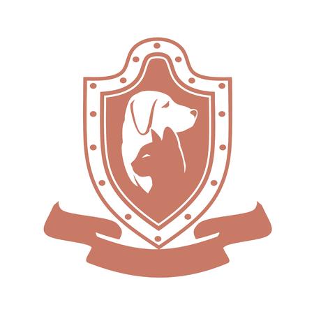 ペットの世話、ショップ、食品、家畜診療所、ペットシェルター ホームレスの抽象的なデザイン コンセプト。犬と猫のシンボル。ベクトルのロゴの  イラスト・ベクター素材