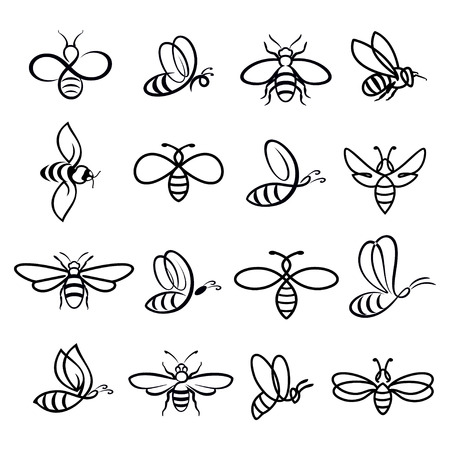 Honey bee set. Vector. Set of honey and bee labels for honey logo products. Isolated insect icon. Flying bee. Flat style vector illustration. Illustration
