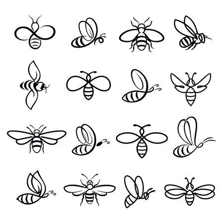 Zestaw pszczół miodu. Wektor. Zestaw miód i pszczół etykiet dla produktów logo miodu. Izolowane ikona owadów. Pszczoła pływająca. Płaski styl ilustracji wektorowych.