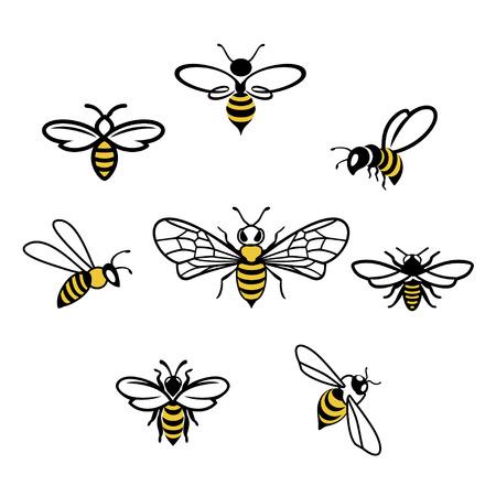蜂蜜の蜂のセット。ベクトル。蜂蜜のロゴ製品の蜂蜜とミツバチのラベルのセット。昆虫アイコンを分離しました。飛んでいる蜂。フラット スタイ