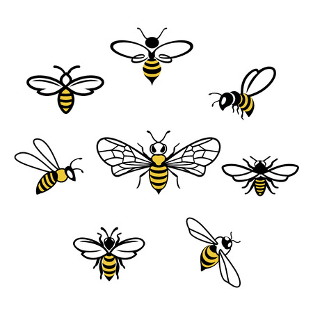 Honey bee set. Vector. Set of honey and bee labels for honey logo products. Isolated insect icon. Flying bee. Flat style vector illustration. Vettoriali