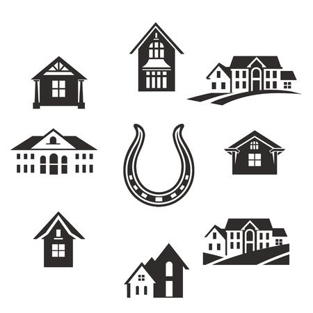 不動産。平らな住宅。フラットスタイルデザインで家のアイコン、建物、およびアーキテクチャのバリエーションを設定します。現代都市の建築概