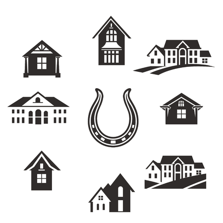 Real estate. Flat Residential Houses. Set houses icons, buildings, and architecture variations in flat style design. Modern city architecture concept. Vettoriali