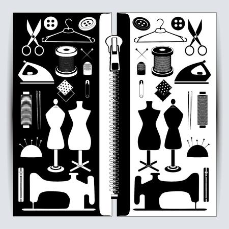 設定の裁縫用具、ミシン、生地、糸、マネキン、はさみ、千枚通し、スプール、ボタン、および詳細などのアイコンが含まれています。黒と白のミ