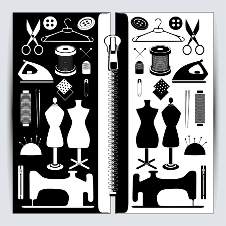 Set of sewing tools, Contains such icons as sewing machine, fabric, thread, mannequin, scissors, awl, spool, button, and more. Black and White sewing accessories. For sewing store and tailor shops. 向量圖像