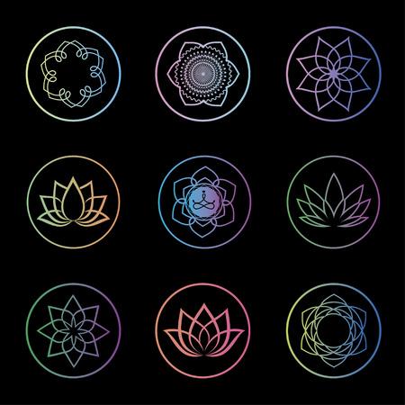 ロータス花ロゴ抽象的な美容スパ サロン化粧品ブランドの直線的なスタイル。ベクトルのスパ、ヨガのクラス、ホテルおよびリゾートの蓮の花のデ