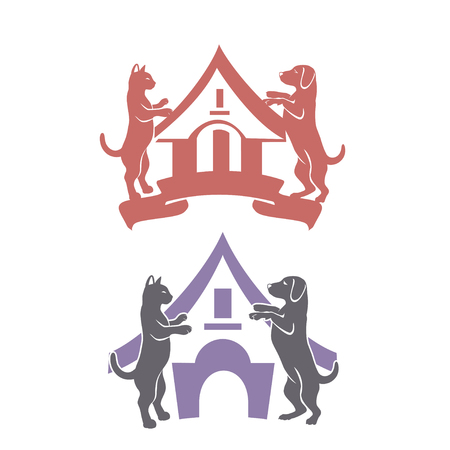 Abstract design concept for pet care, shops, food, veterinary clinics and animal shelters homeless. Dog and cat symbol. Vector logo template. 向量圖像