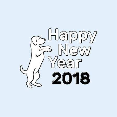 Chinese New Year 2018 festive vector card Design with cute dog, zodiac symbol of 2018 year. Vector illustration of Chinese calendar. Vector element for New Year s design. 向量圖像