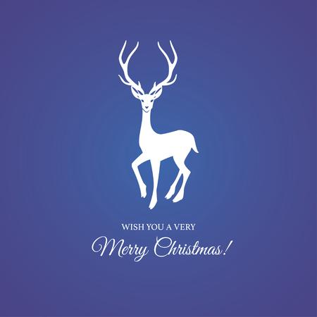 メリー クリスマスと幸せな新年の挨拶カード トナカイとエレガントなタイポグラフィー バッジ付き。ベクトルの図。  イラスト・ベクター素材