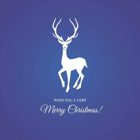 Merry Christmas and Happy New Year Greeting card with reindeer and elegant typography badge. Vector illustration.