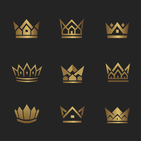 Golden house line icon. Can be used for realty estate, apartment, residential property or hotel logo template. Ilustrace