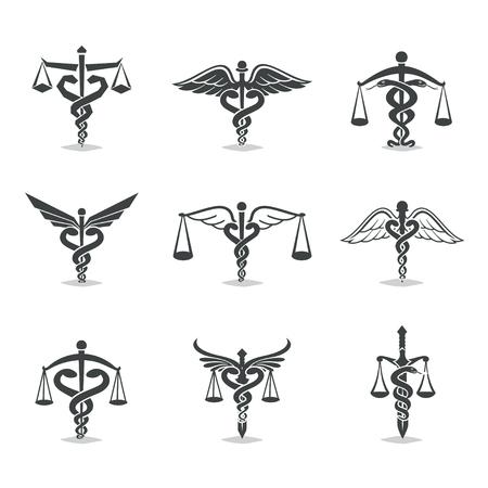 セット、正義、アカデミー、健康管理、エンブレムのデザイン要素をスケーリングします。ラベルし、バッジの法律事務所, 健康, 医学, ビジネス