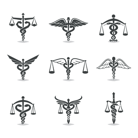 The set scales, justice, Academy, health care , emblems and design elements. Labels and badges Law firm, health, medicine, business Vettoriali