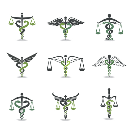 The set scales, justice, Academy, health care logos, emblems and design elements. Labels and badges Law firm, health, medicine, business Vettoriali