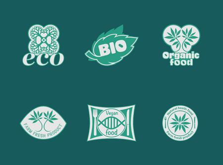 自然製品、健康食品、ファーム新鮮な食品、オーガニック、グルテン フリー。ベクトル環境、バイオのロゴ。完全菜食主義者、自然食品や飲み物の