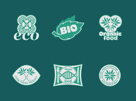 Natural product, healthy food, farm fresh food, organic product, gluten free. Vector eco, bio logos. Vegan, natural food and drinks signs. Farm market, store icons collection. Raw meal badges, labels. Vettoriali