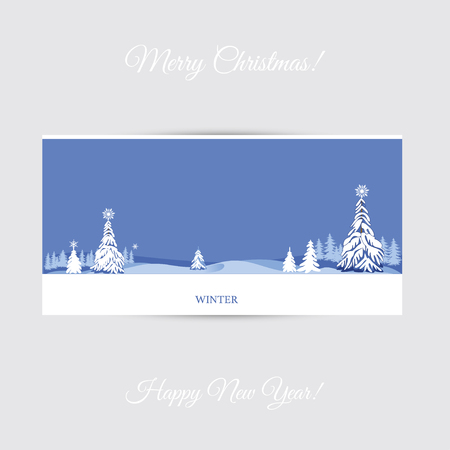 Holiday winter landscape background with coniferous forest. Christmas New Year design. Elegant greeting card. Vector illustration.